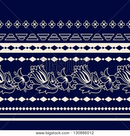 Lines Paisley seamless pattern. Decorative Paisley border