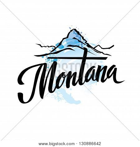 Vintage Montana USA State letterng logo vector illustration with watercolor elements.. Bearhat Mountain rises above Hidden Lake in Glacier National Park, Montana, USA