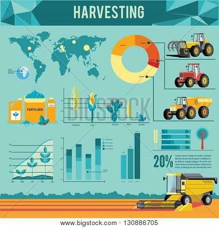 Vector set of agricultural vehicles and farm machines infographic. Tractors, harvesters, combines. Illustration in flat design.