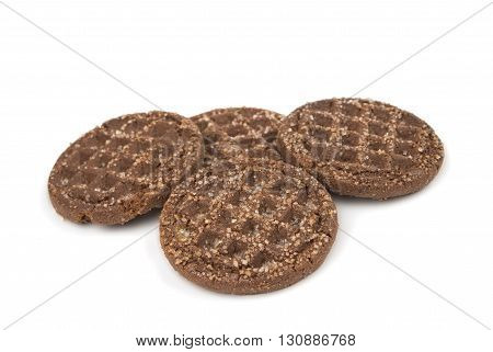 dessert, chocolate cookies isolated on white background