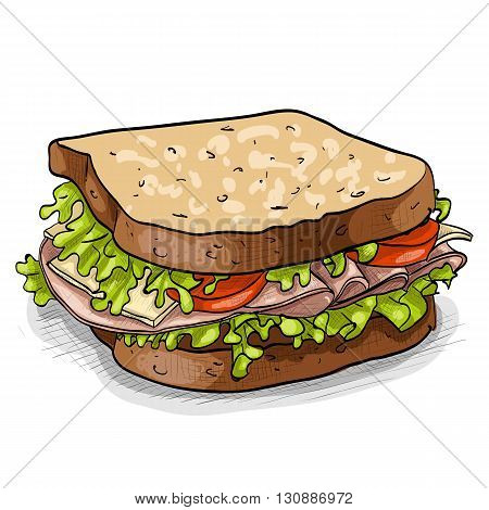 Hand drawn sandwich, color picture. Vector illustration, EPS 10