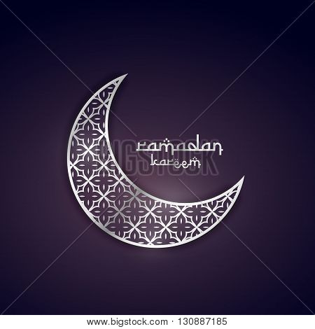 ramadan kareem greeting design with silver moon with pattern