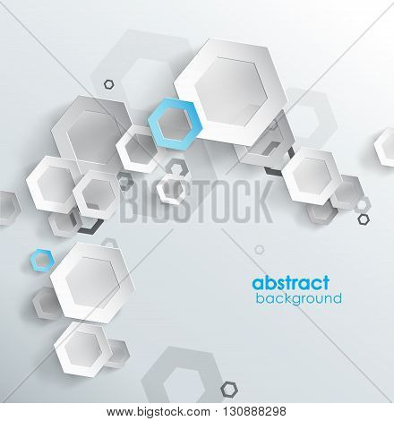 Abstract background with hexagon elements. Vector art