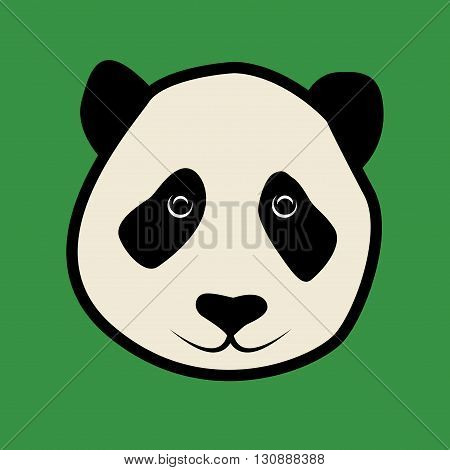 Panda face on green background icon or sign, vector illustration