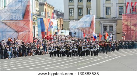 St. Petersburg, Russia - 9 May, Division military drummers in front of the stands, 9 May, 2016. Festive military parade on the Palace Square in St. Petersburg.