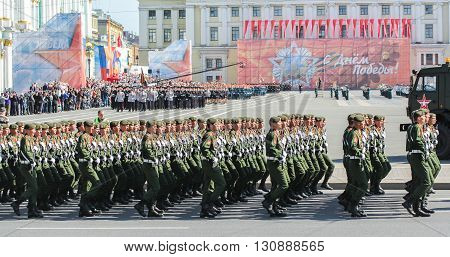 St. Petersburg, Russia - 9 May, Slender ranks of soldiers, 9 May,  2016. Festive military parade on the Palace Square in St. Petersburg.