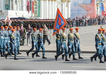 St. Petersburg, Russia - 9 May, Group Bearers with swords in blue uniforms, 9 May, 2016. Festive military parade on the Palace Square in St. Petersburg.