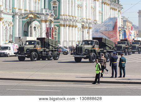 St. Petersburg, Russia - 9 May, Constant bombings on the Victory Parade, 9 May, 2016. Festive military parade on the Palace Square in St. Petersburg.