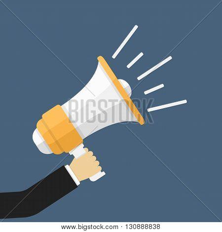 Hand with megaphone, flat design, promotion concept, vector eps10 illustration