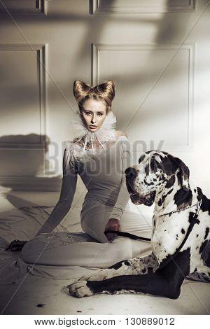 Elegant fashionable woman posing