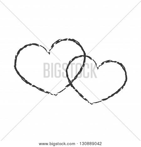 White hearts icon. Grunge texture shape sign isolated on black background. Symbol of romantic love passion Drawing design element Valentine day holiday or greeting decoration. Vector illustration