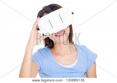 Woman looking virtual reality device