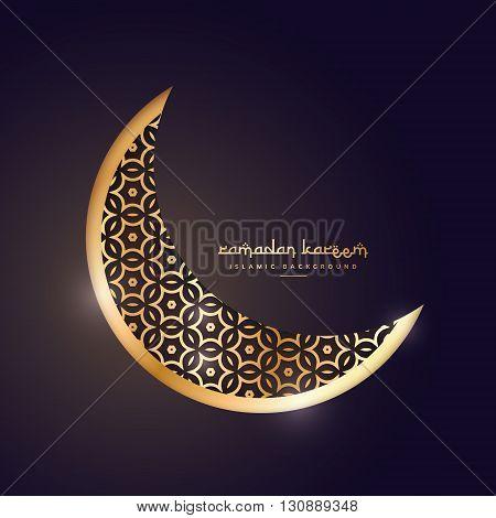 golden moon in dark background vector design illustration