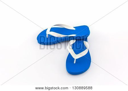 Colorful of Sandals shoes Blue flip flops on white background.