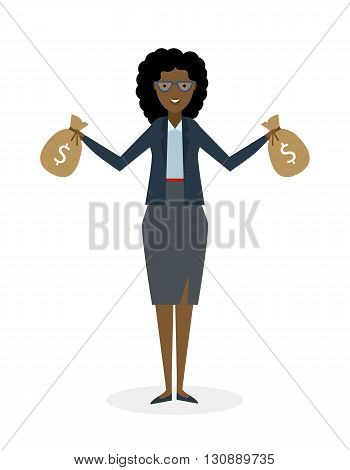 Businesswoman with money bags. Isolated character. African american businesswoman holding bags of money. Wealth and investment.