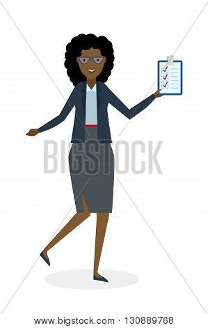 Businesswoman with clipboard and thumb up on white background. Isolated character. African american businesswoman holding clipboard. Concept of supply, planning, agree, approve.