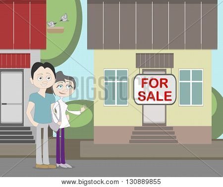 Young family with for sale house. Family search for new house. House with for sale sign. Happy new family.