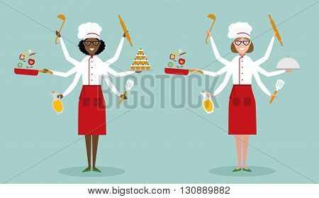 Multitasking female chefs with six hands standing and holding a cake, ladle, paddle, pan with vegetabes, oil and rolling pin. Successful cook. Restaurant chef. African american and caucasian.
