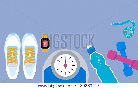 Set of fitness tools. Set of sneakers, bottle, jump rope, watch, dumbbels and scale. Workout with dumbbells. Health and sport. Gym concept.