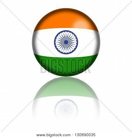 India Flag Sphere 3D Rendering