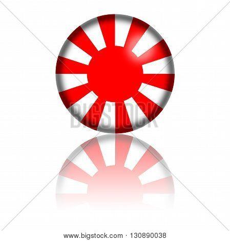 Japan Flag Sphere 3D Rendering