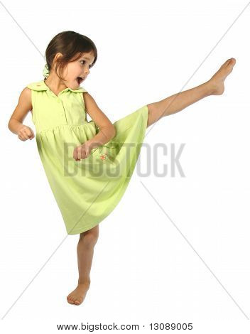 Screaming little girl kick by foot