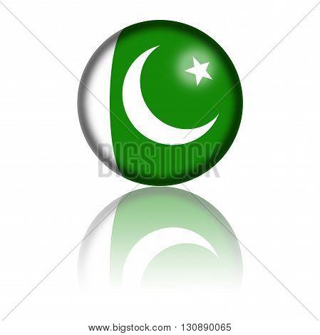 Pakistan Flag Sphere 3D Rendering