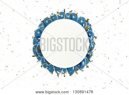 Circle Badge And Blue Balloons