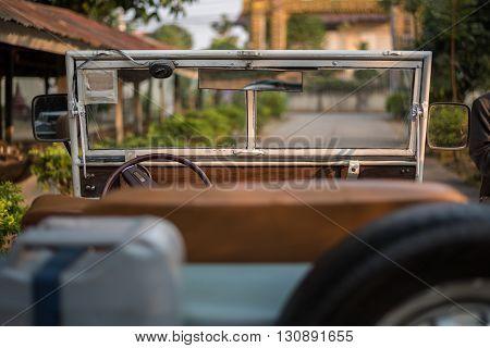 Rear view of vintage convertible car ( Retro )