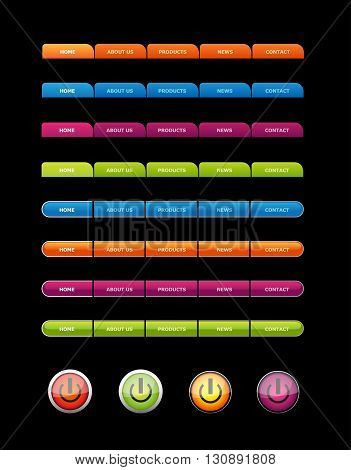 Set of colored buttons for web sites. Vector art