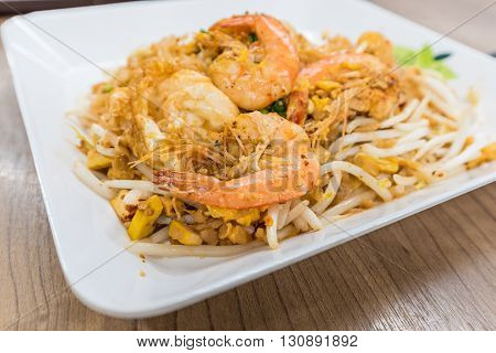 Pad Thai With Shrimp On White Dish