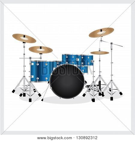 Vector Illustration Drum Set Blue on White Background