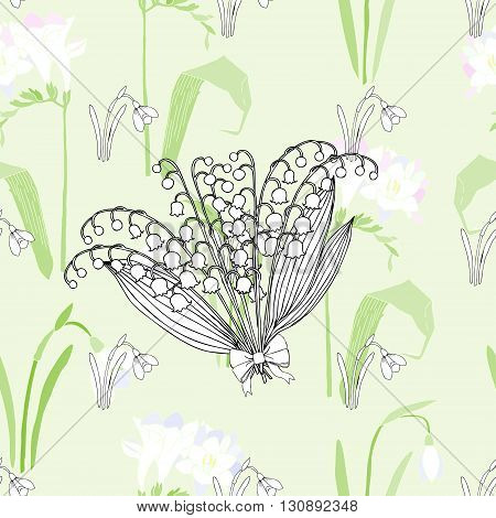 Seamless pattern with lilies of the valley. Hand drawn spring sketches flowers. Vector Illustration