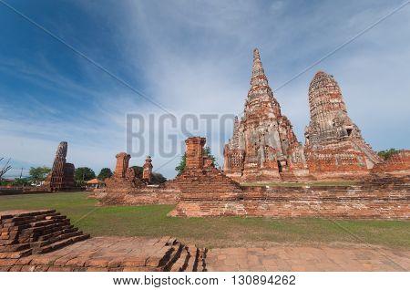 Old Temple wat Chaiwatthanaram of Ayutthaya Province, Ayutthaya. Thailand