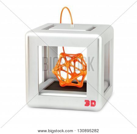 3D printer isolated on white with abstract form inside