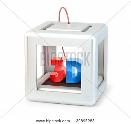 3D printer with printed 3D letters isolated on white