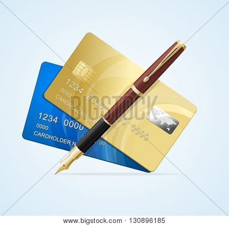 Card and Pen Business Concept. Vector illustration