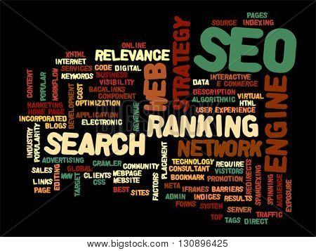 Vector concept or conceptual search engine optimization, seo abstract word cloud isolated on background