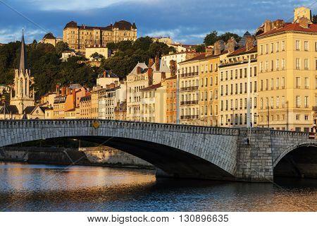 Bonaparte Bridge in Lyon. Lyon Rhone-Alpes France.