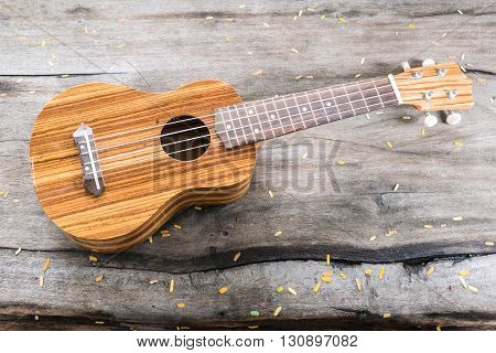 The ukulele with yellow leaf on wooden background