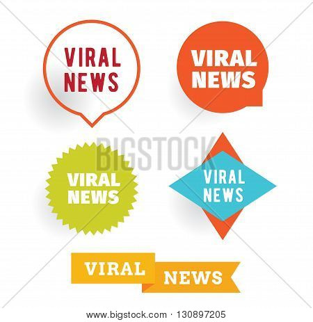 Viral news labels set. Isolated vector typographic design.