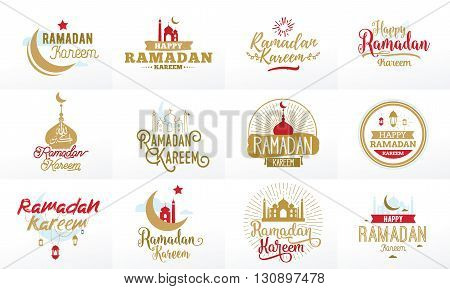 Ramadan kareem. Vector typographic design set with calligraphy and lettering. Usable for greeting cards, print and clothing.