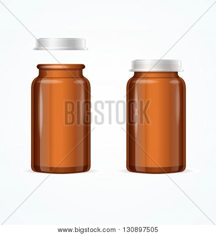 Medical Glass Brown Bottle. Open and Closed. Vector illustration