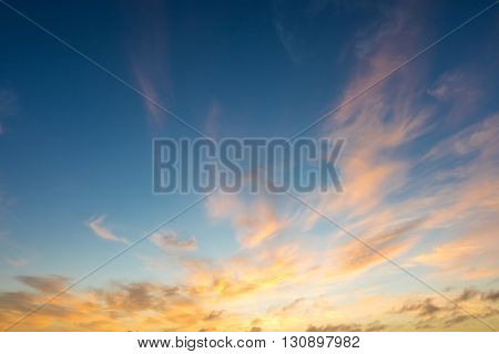 Golden blue sunrise or sunset sky