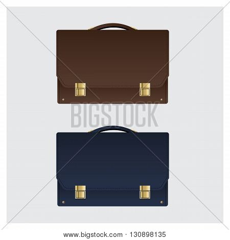 Two Business Leather Briefcase on White Background