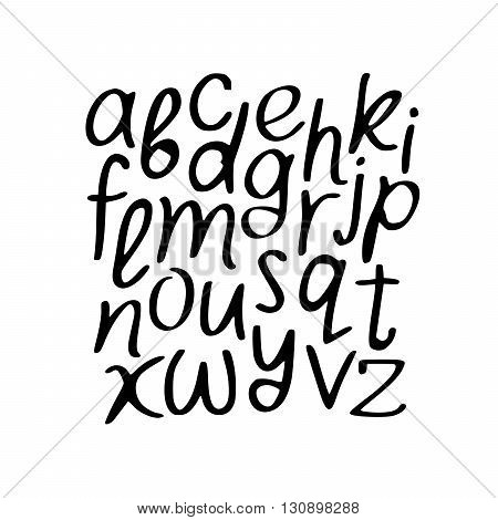 Modern Vector Alphabet. Font. ABC Painted Letters. Modern Brushed Lettering. Painted Alphabet. Hand drawn letters. Letters of the alphabet written with a brush.