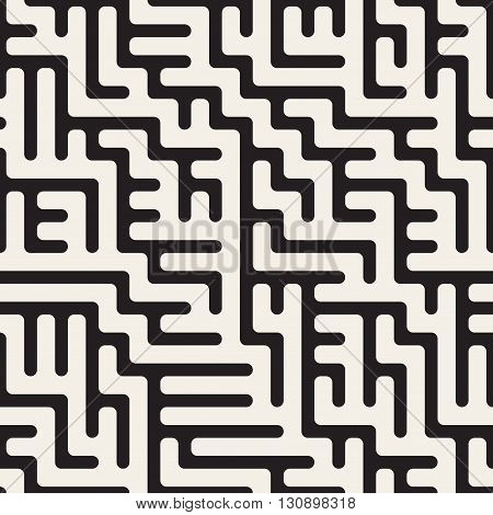 Vector Seamless Black And White Rounded Irregular Maze Lines Pattern Abstract Background