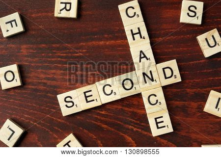 Words Second Chance from wooden blocks with letters.