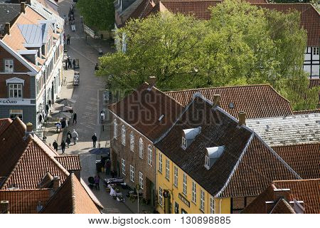RIBE DENMARK - MAY 18 2016: Ribe main street view from Carhedral Tower May 18. 2016 Ribe Denmark