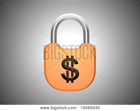 Locked Padlock: Us Dollar Currency